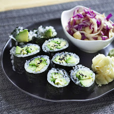 Cucumber-Avocado Maki with Cabbage & Daikon Salad