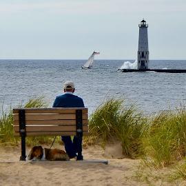 Windy beach by Tim Hall - People Street & Candids ( seashore, waves, lighthouse, great lakes, seaside, michigan, beaches, lakeshore, sailboat.tacking, shetland sheepdog, breakers, sheltie, peopls )