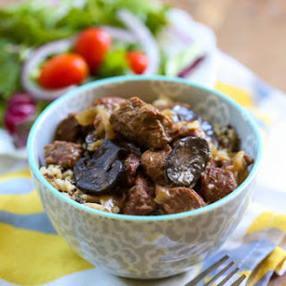 Beef Tips with Onion & Mushroom Gravy