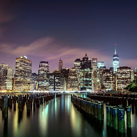 Manhattan lights by Mariya Miteva-Simon - City,  Street & Park  Night ( lights, manhattan skyline, skyscraper, new york, nightscape )