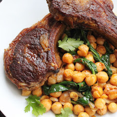 Skillet Lamb Chops with Harissa, Spinach and Chickpeas