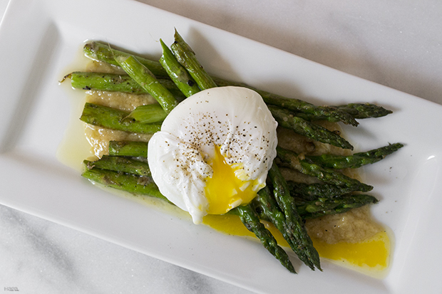 Asparagus with Poached Egg and Roasted Garlic Miso Butter Recipe ...
