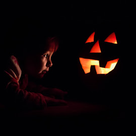 That's Spooky by Laura Robles - Public Holidays Halloween ( child, candlelight, pumpkin, jack o'lantern, portrait, halloween,  )