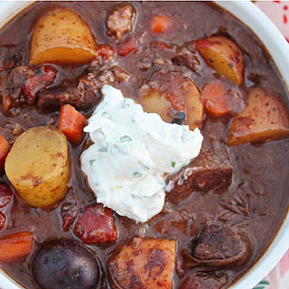 Beef Stew With Red Wine and Horseradish-Chive Cream