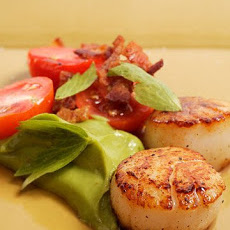 Seared Scallops with Bacon, Tomato, and Avocado Puree