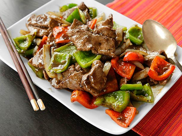 ... Pepper Steak (Stir-Fried Beef with Onions, Peppers, and Black Pepper