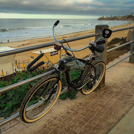 Surfer's bike, Pacific Beach, CA by Ed Shanahan - Transportation Bicycles ( san diego, pacific beach, bike, surfing, surfers paradise, ocean, beach )
