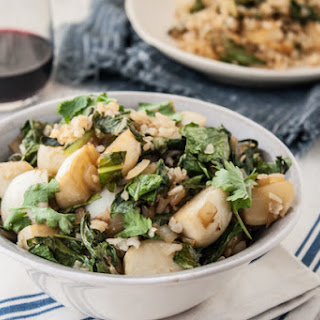 Sesame-Ginger Turnips + Turnip Greens & Brown Rice