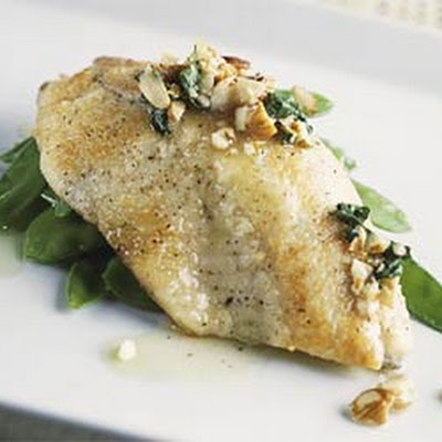 Pan Seared Tilapia with Almond Browned Butter and Snow Peas