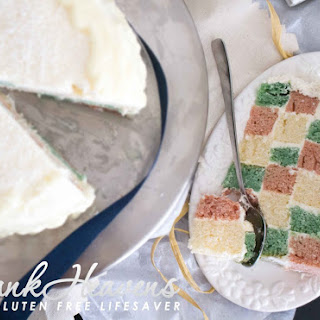 Checkerboard Snow Cake For Christmas – Gluten and Dairy-Free with Natural Colours
