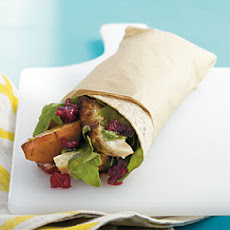 Grilled Chicken, Pear, and Arugula Wrap with Cranberry Vinaigrette