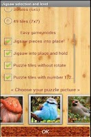 Screenshot of bird jigsaw puzzle