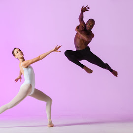 Dancers by Mark Wood - People Musicians & Entertainers ( dancers, black and white, ballet, dance, jette, leap, dancer, jump,  )
