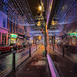 Tis the Season by Neil Nicklin - Buildings & Architecture Other Exteriors ( lights, festive, hdr, christmas, night, hull, mood, mood factory, holiday, hanukkah, red, green, artifical, lighting, colors, Kwanzaa, blue, black, celebrate, tis the season,  )