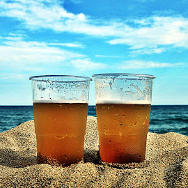beers in the sandbox horizion by Pat McKane - Food & Drink Alcohol & Drinks ( horizon beer beers coldbeer sand sands beach blue warher sea, drink, drinks )