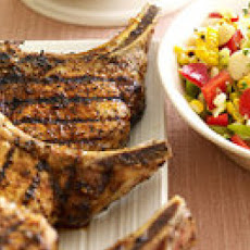Smoky Pork Chops with Spicy Applesauce and Garlicky Succotash