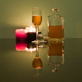 liqueur by George Petridis - Food & Drink Alcohol & Drinks ( reflection, low key, still life, candles, drink, glass, liqueur,  )