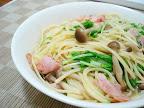 【自炊】水菜のオイルソースパスタ