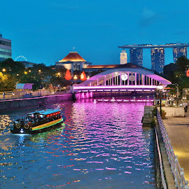 Singapore River by Koh Chip Whye - City,  Street & Park  Historic Districts ( singapore, singapore river, , mood, mood factory, holiday, christmas, hanukkah, red, green, lights, artifical, lighting, colors, Kwanzaa, blue, black, celebrate, tis the season, festive )