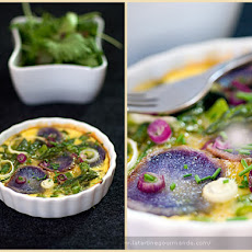 Egg Flan with Purple Potato and Green Vegetables