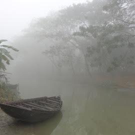 The Mysterious Journey by Mahbub Hossain - Transportation Boats ( foggy, nature, landscape photography, transportation, boat )