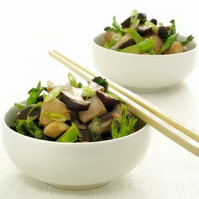 Chinese Stir-fried Chicken with Shiitake Mushrooms and Purple Sprouting Broccoli