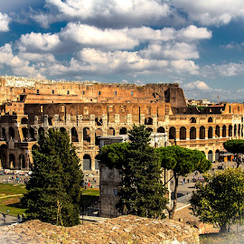 just the view by Michael Strier - Buildings & Architecture Public & Historical ( clouds, colosseum, rome, travel, view, italy )