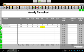 Screenshot of e-Droid-Cell Light Spreadsheet