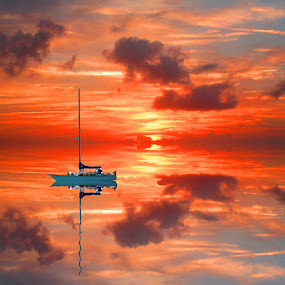 smooth sailing by Jay Anderson - Landscapes Sunsets & Sunrises ( relax, colors, cruse, waves, dive, sea, object, boat, landscape, sail boat, nassau, portrait, sun, island, mirror, vacation, color, sunset, swim, scuba, sail, filter forge, refection, bahamas, Free, Freedom, Inspire, Inspiring, Inspirational, Emotion, , Spring, springtime, outdoors, water, device, transportation )