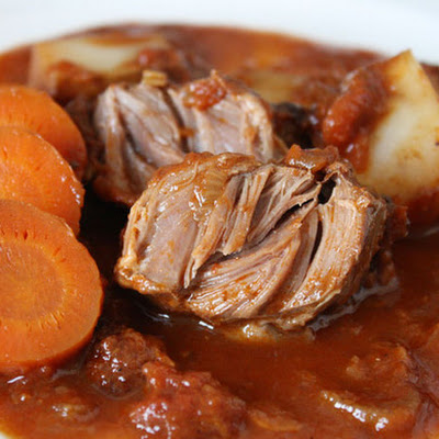 Pork Cheeks Braised in Tomato Wine Sauce