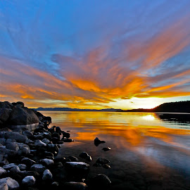 Fiery Winter Sunset, Lake Tahoe by Geoff McGilvray - Landscapes Sunsets & Sunrises ( clouds, calm, boulders, peaceful, nature, l winter, serene, sunset, weather, landscape, granite, lake tahoe )