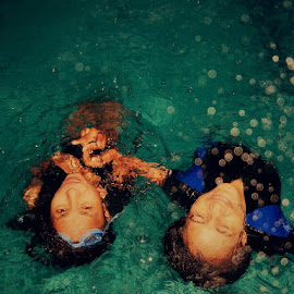 Friendship by Desty Ayomi - Sports & Fitness Swimming ( water, friends, friendship, night, enjoy, swimming )