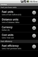 Screenshot of GasApp