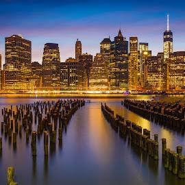 New York Skyline at Sunset by Richard Cavalleri - City,  Street & Park  Skylines ( urban, skyline, park, colorful, sunset, beautiful, manhattan, cityscape, new york, nyc, brooklyn, city )