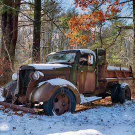 Chevy Dump truck by Alan Roseman - Transportation Automobiles ( chevy truck, new england, truck, plymouth, old truck, work truck, decay, abandoned )