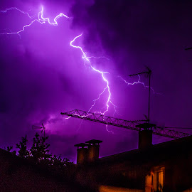 Purple storm by Claudia Corbu - Landscapes Weather ( thunder, sky, purple, storm, italy )