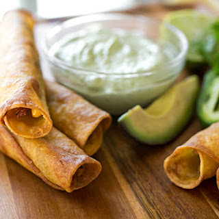 Zesty Chili-Lime Chicken Taquitos with Jack Cheese and Roasted Corn, with Cool Avocado & Jalapeno Ranch Dipping Sauce