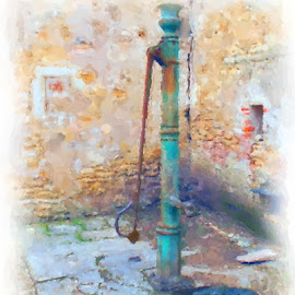 Water Pump No. 2 by Larry Young - Digital Art Things ( french castle, watercolor, water well, hand pump, pump )