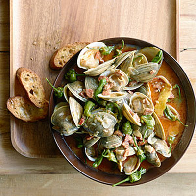 Steamed Clams with Chorizo and Padrón Peppers