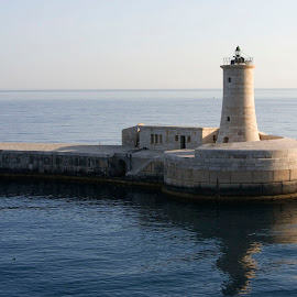 Mediterranean Lighthouse by Marjean Jolley - Buildings & Architecture Other Exteriors ( #islandofmalta, #beautiful, #deepblue )