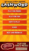 Screenshot of Cashword by Michigan Lottery
