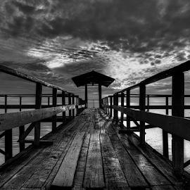 the Bridge by Haryo Suryo - Black & White Landscapes ( kenjeran, cloud, beach, sunrise, bridge, morning )