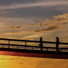 *** by Daniel Chobanov - People Couples ( plovdiv, clouds, sunset, meeting, rowing channel, couple, bridge, bulgaria,  )