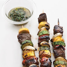 Sirloin and Summer-Vegetable Kebabs with Chimichurri