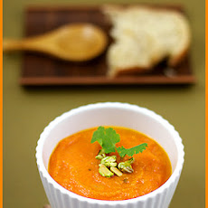 Cardamom, Coriander Carrot Soup and Pistachios