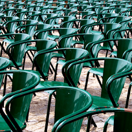 The Stall by Antonio Amen - Abstract Patterns ( stall, chairs, green,  )