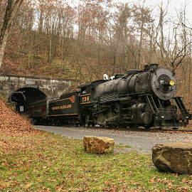 Out of the Tunnel by Sharon Horn - Transportation Trains ( cumberland, steam engine, frostburg, engine, railroad, maryland, train, tunnel )