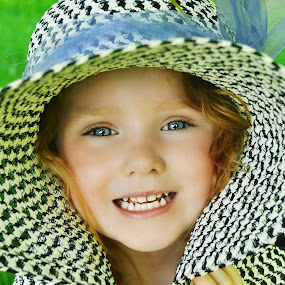 Summertime Hat by Cheryl Korotky - Babies & Children Child Portraits ( child, model, red hair, a heartbeat in time photography, amazing faces, beautiful children, nevaeh, blue eyes, portrait, hat,  )