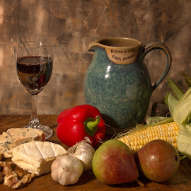 Wine and cheese by Vibeke Friis - Food & Drink Meats & Cheeses ( still life, wine and cheese,  )