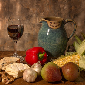 Wine and cheese by Vibeke Friis - Food & Drink Meats & Cheeses ( whine glass, blue cheese, garlic, still life, capsicum, red whine, pears, jug, camembert, walnuts, corn, wine and cheese,  )